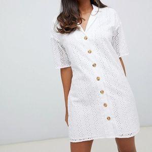 ASOS | White Button Through Broderie Mini Dress